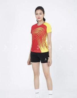 Áo thể thao nữ AC 3602- 06- 07 Vàng phối Đỏ