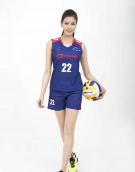 Bộ bóng chuyền nữ ACB-5155-04-07 Xanh bích phối đỏ