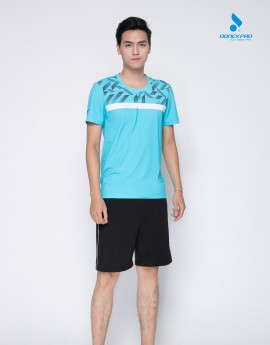 Áo tennis nam MC-9008 xanh ngọc phối đen